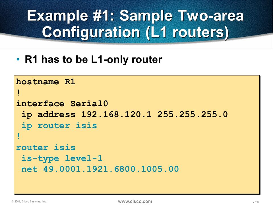 Example #1: Sample Two-area Configuration (L1 routers)