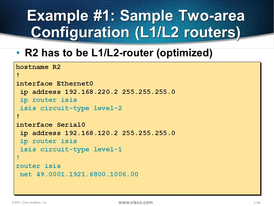 Example #1: Sample Two-area Configuration (L1/L2 routers)