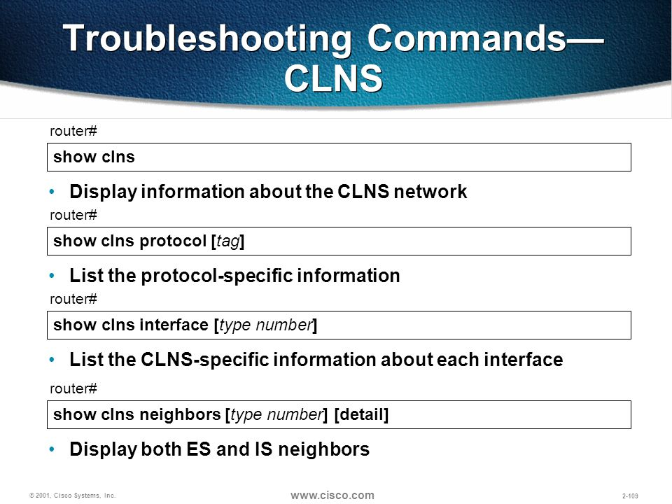 Troubleshooting Commands—CLNS