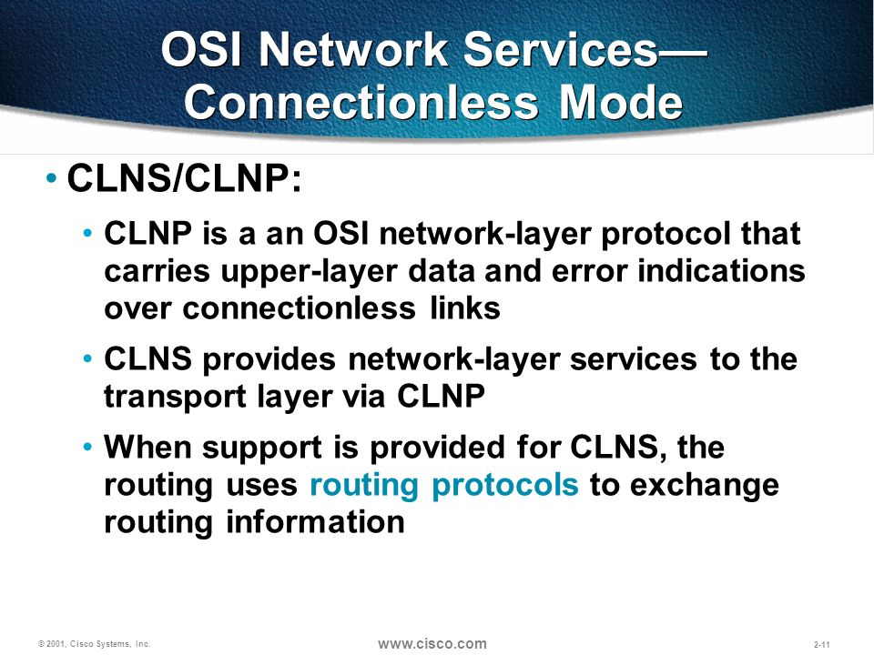 OSI Network Services— Connectionless Mode