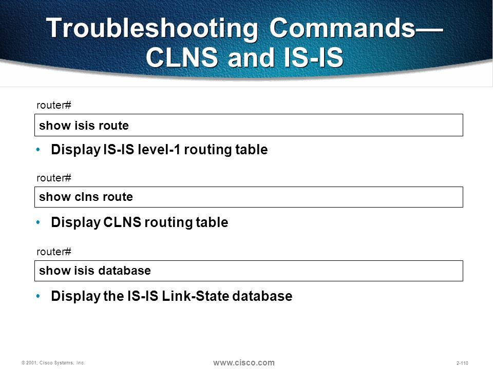 Troubleshooting Commands— CLNS and IS-IS