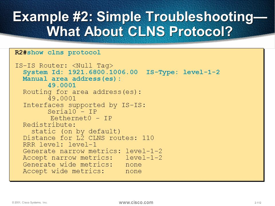 Example #2: Simple Troubleshooting—What About CLNS Protocol