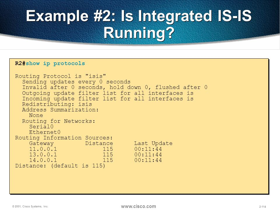 Example #2: Is Integrated IS-IS Running