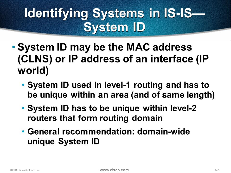Identifying Systems in IS-IS—System ID