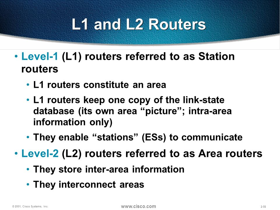 L1 and L2 Routers Level-1 (L1) routers referred to as Station routers
