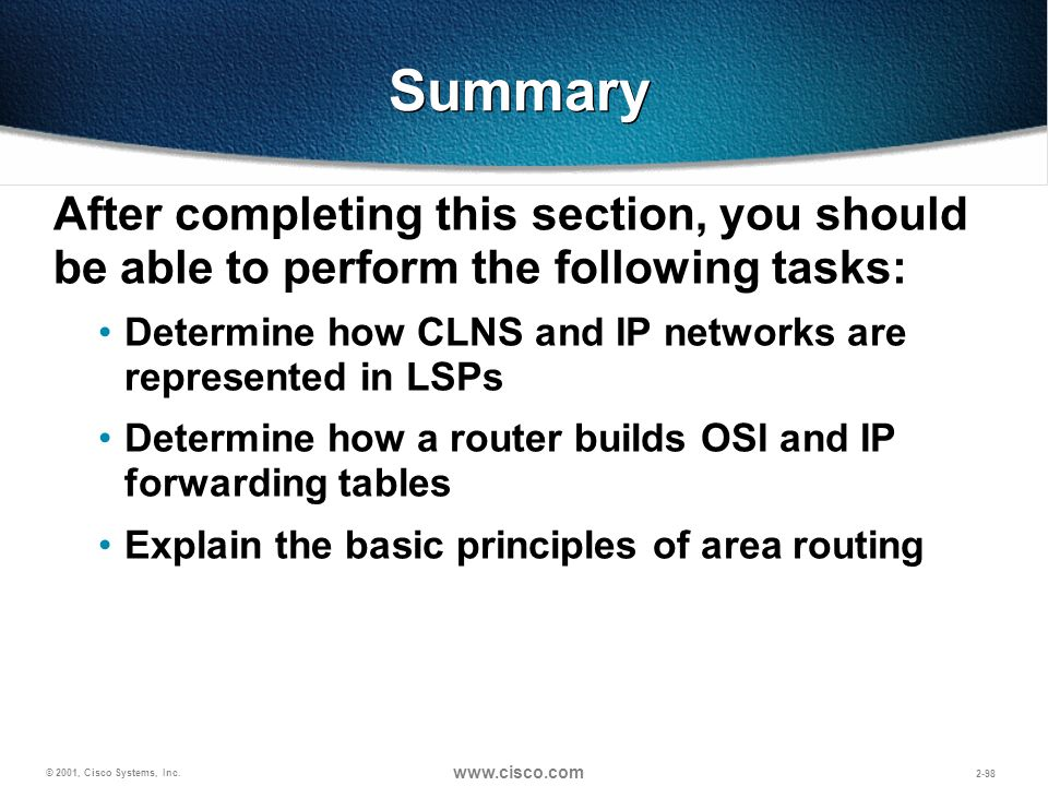 Summary After completing this section, you should be able to perform the following tasks: Determine how CLNS and IP networks are represented in LSPs.