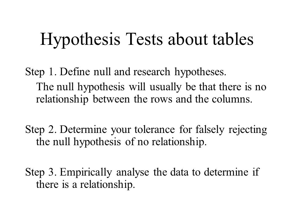 Hypothesis Tests about tables