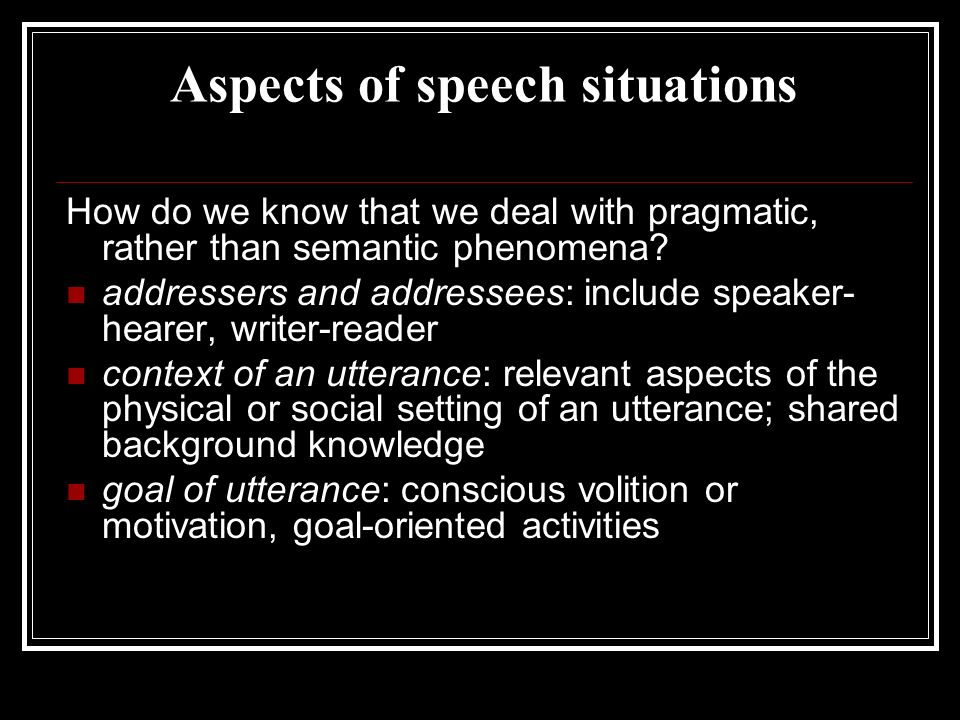 Aspects of speech situations