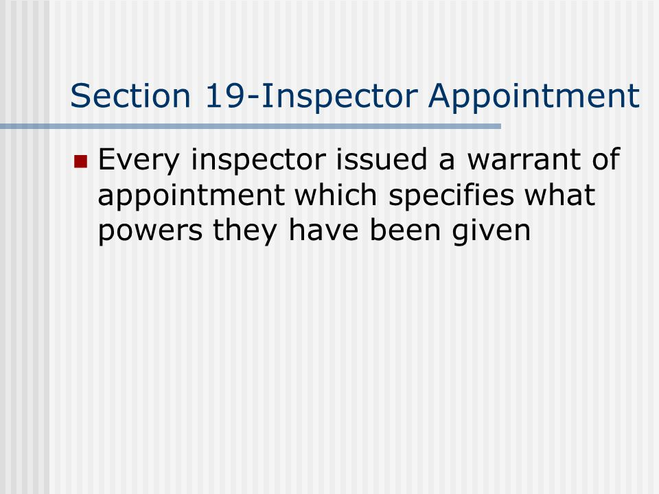 Section 19-Inspector Appointment