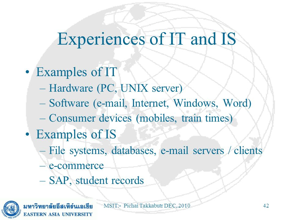 Experiences of IT and IS