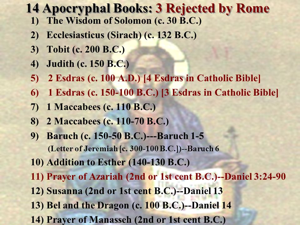 14 Apocryphal Books: 3 Rejected by Rome