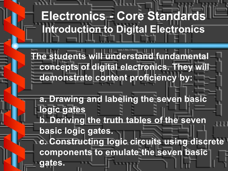 Electronics - Core Standards Introduction to Digital Electronics