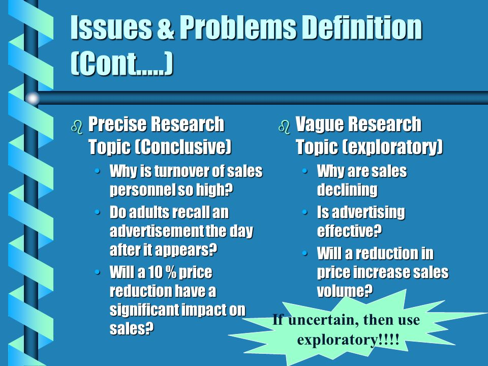 Issues & Problems Definition (Cont.....)