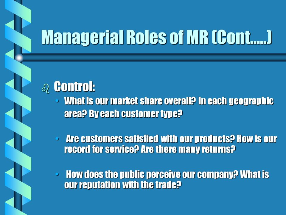 Managerial Roles of MR (Cont.....)