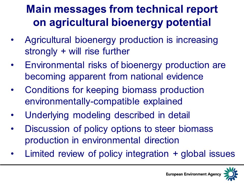 Main messages from technical report on agricultural bioenergy potential