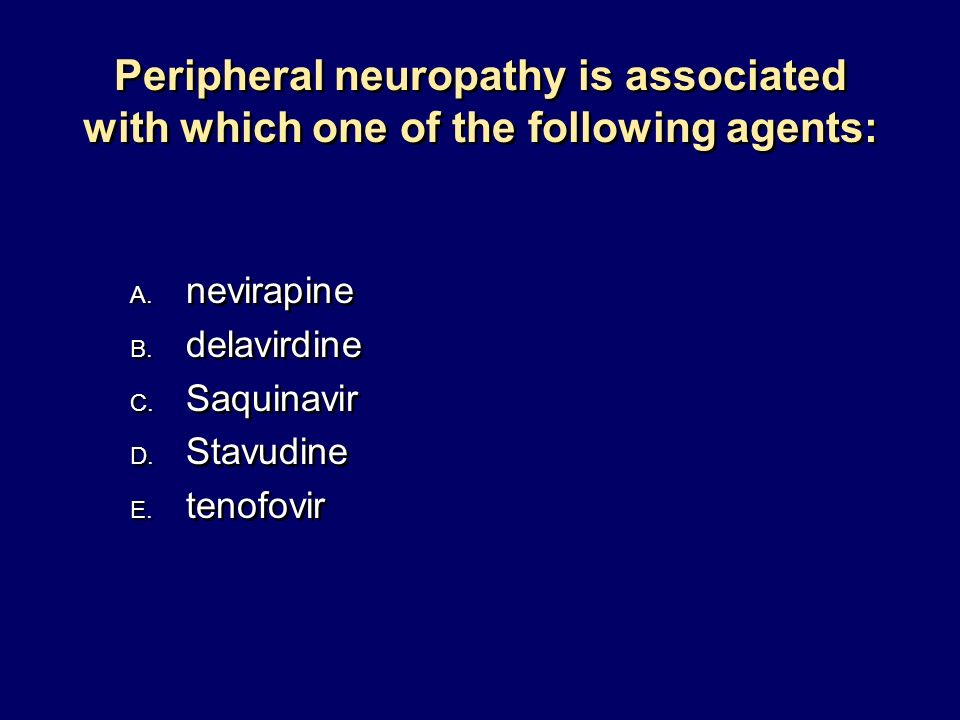 Peripheral neuropathy is associated with which one of the following agents: