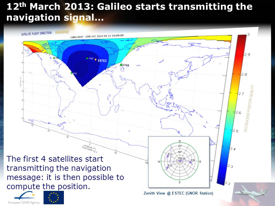 12th March 2013: Galileo starts transmitting the navigation signal…