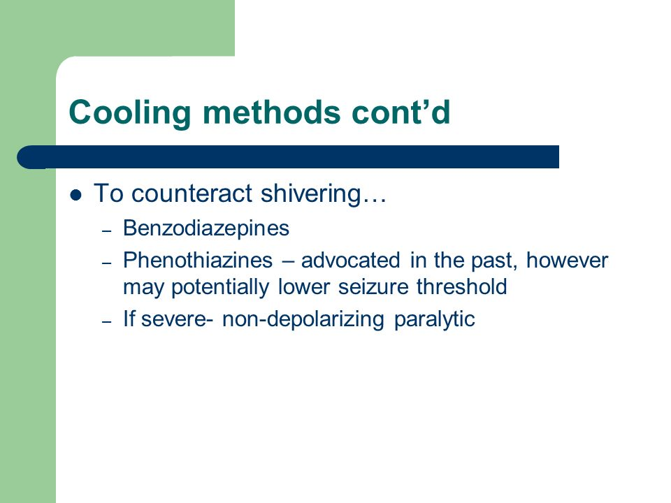 Cooling methods cont'd
