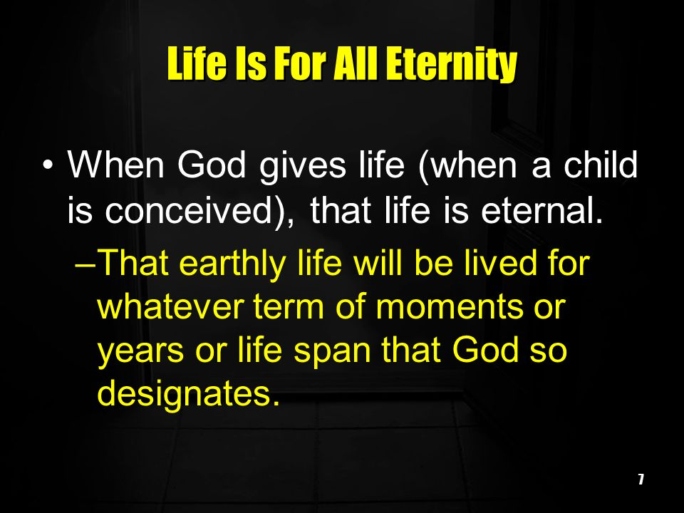 Life Is For All Eternity