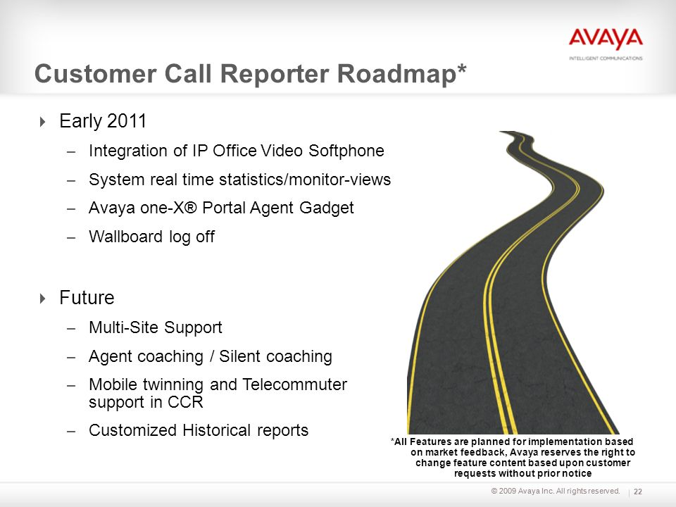 Customer Call Reporter Roadmap*
