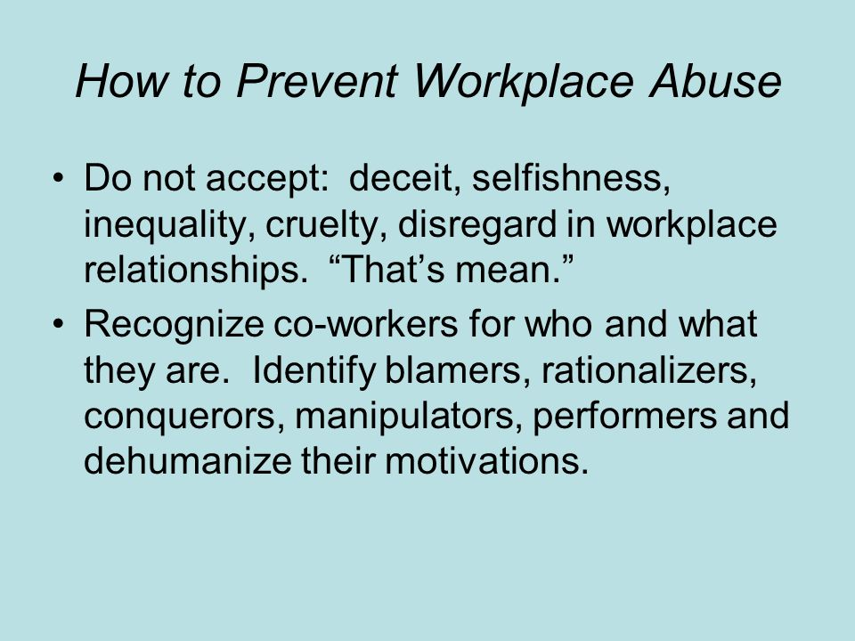 How to Prevent Workplace Abuse
