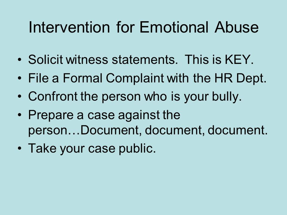 Intervention for Emotional Abuse