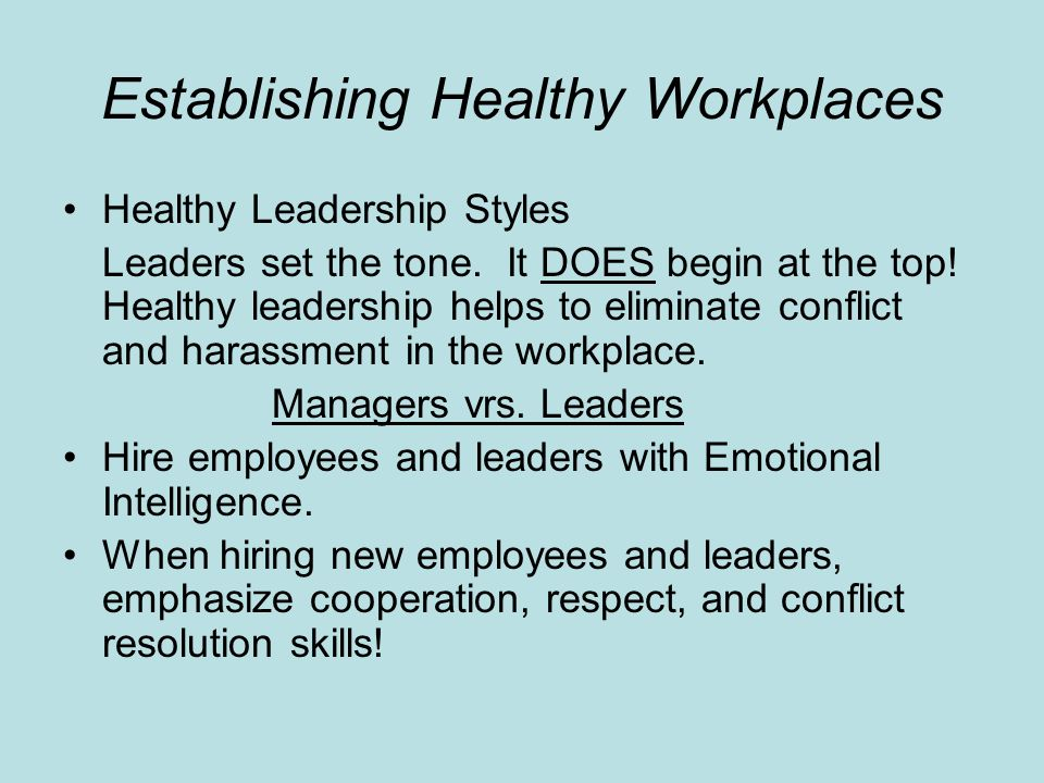 Establishing Healthy Workplaces