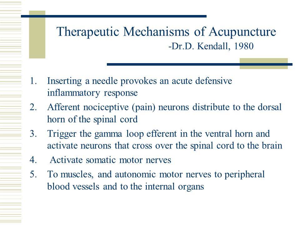 Therapeutic Mechanisms of Acupuncture -Dr.D. Kendall, 1980