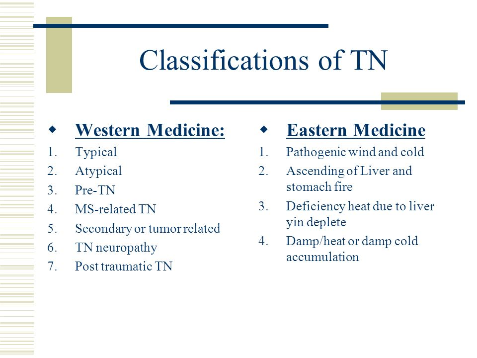 Classifications of TN Western Medicine: Eastern Medicine Typical