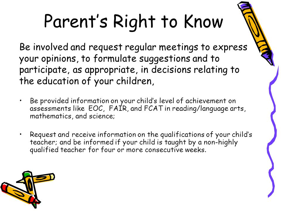 Parent's Right to Know