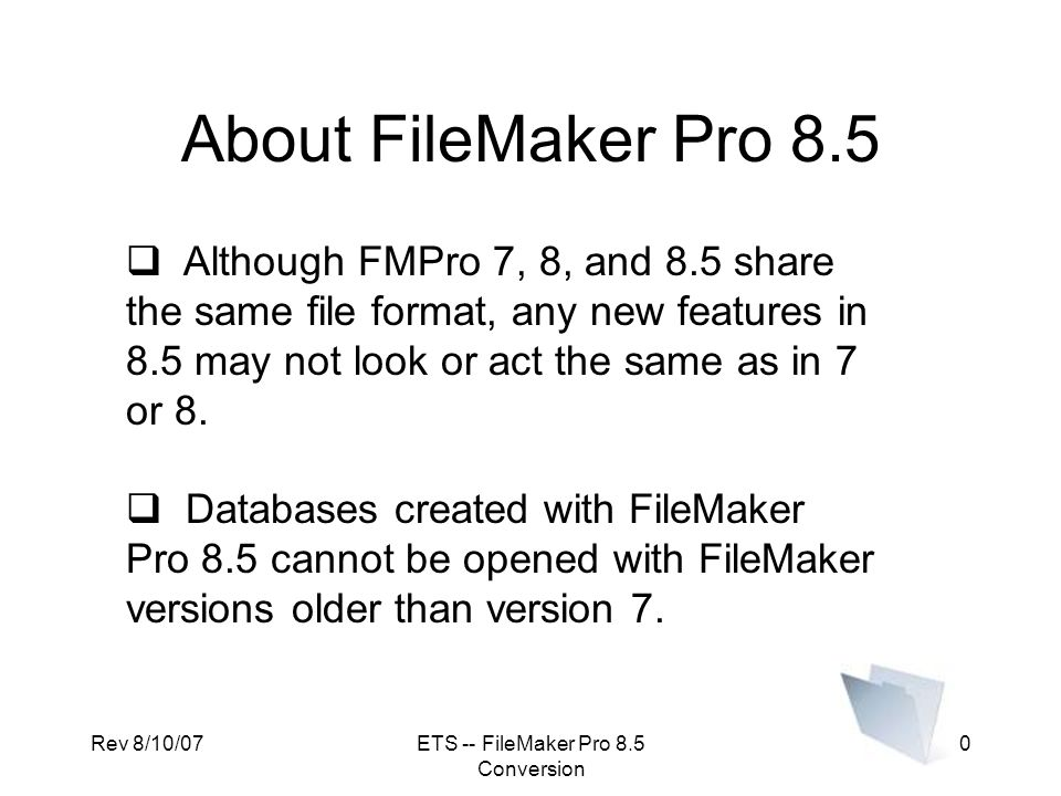Converting to FileMaker ppt download