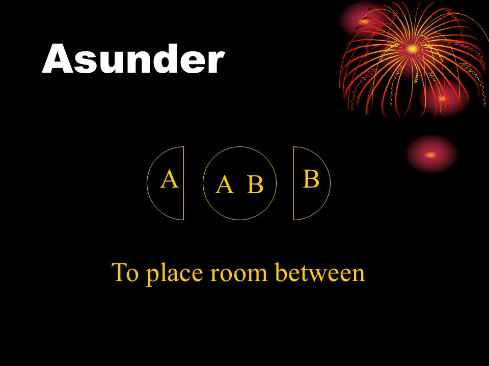 Asunder A B A B To place room between