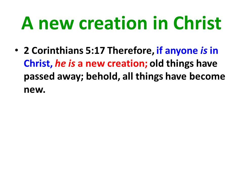 A new creation in Christ