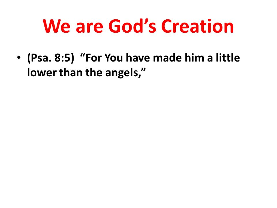 We are God's Creation (Psa. 8:5) For You have made him a little lower than the angels,