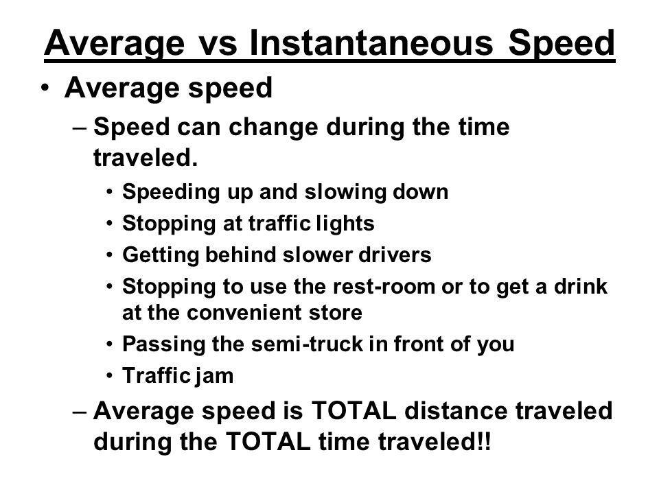 Average vs Instantaneous Speed