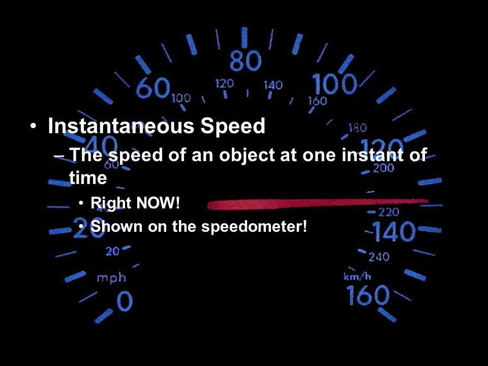 Instantaneous Speed The speed of an object at one instant of time