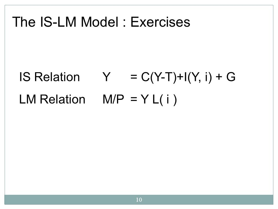 The IS-LM Model : Exercises
