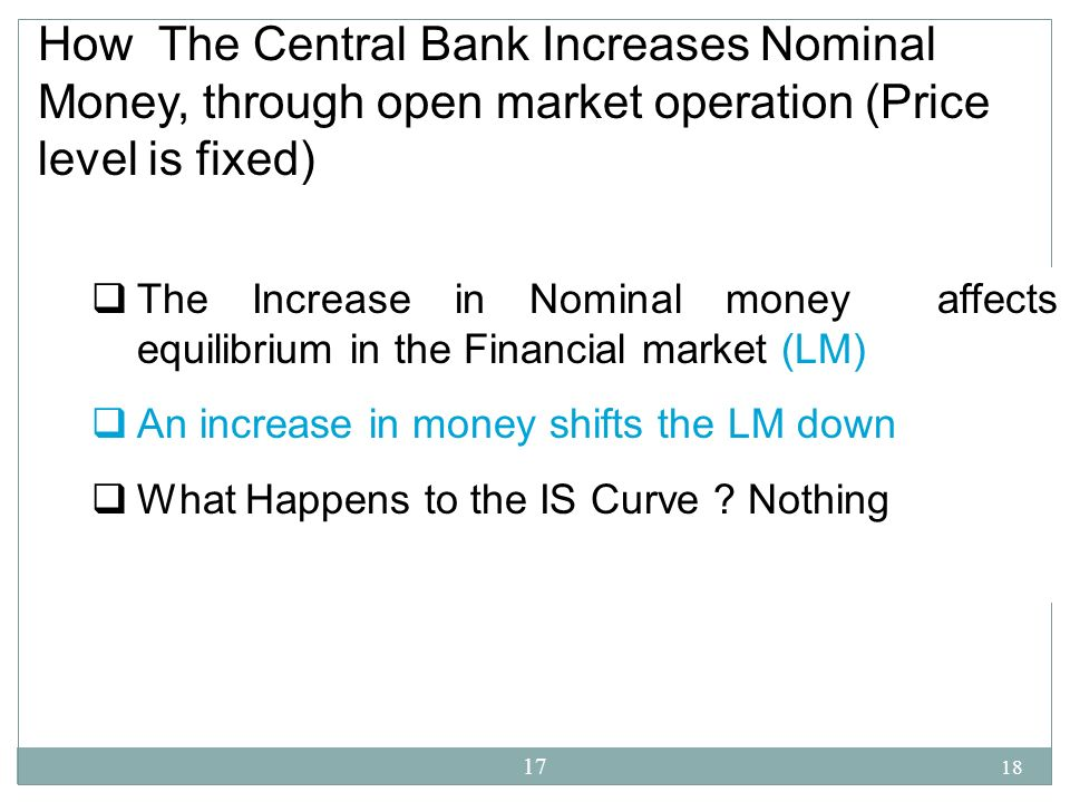How The Central Bank Increases Nominal Money, through open market operation (Price level is fixed)