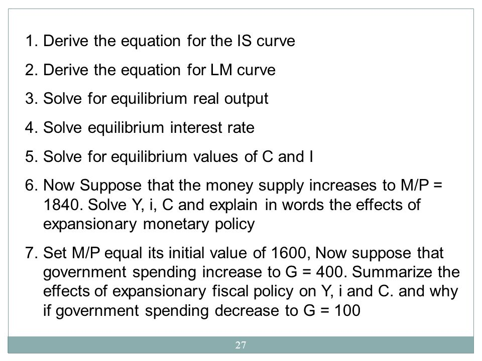 Derive the equation for the IS curve