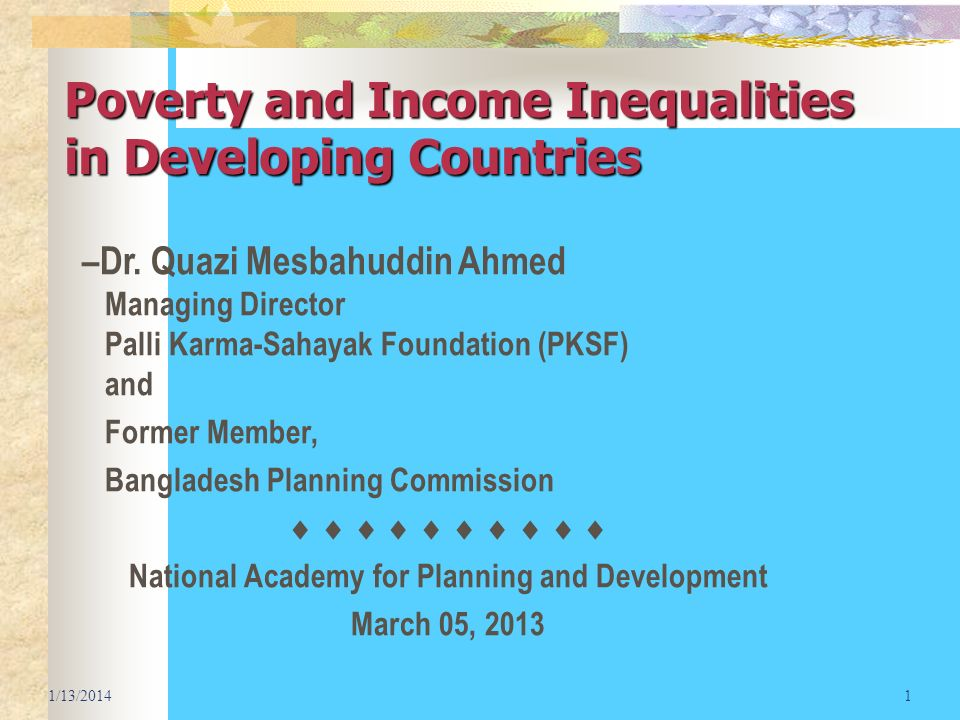 Poverty and Income Inequalities in Developing Countries