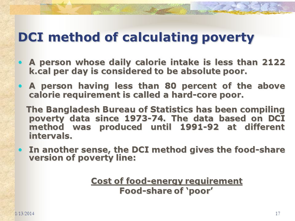 DCI method of calculating poverty