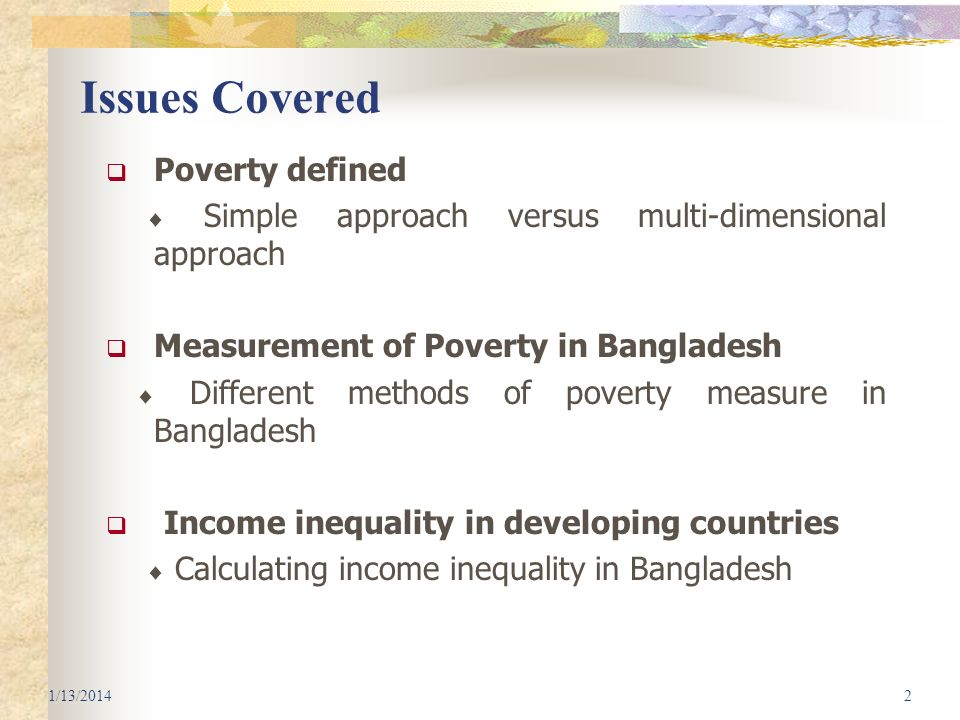 Issues Covered Poverty defined