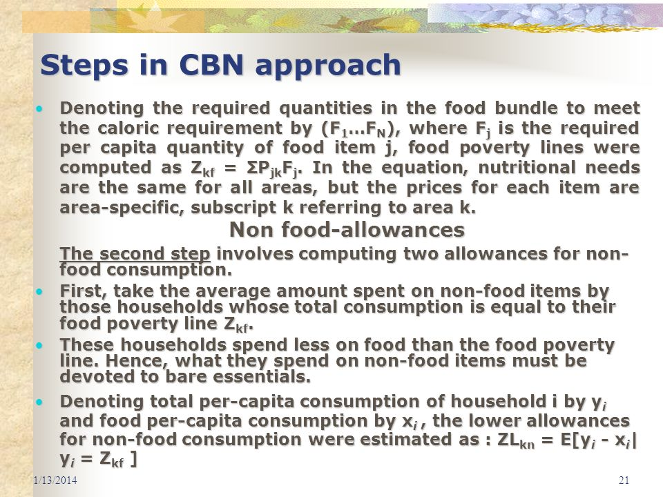 Steps in CBN approach Non food-allowances