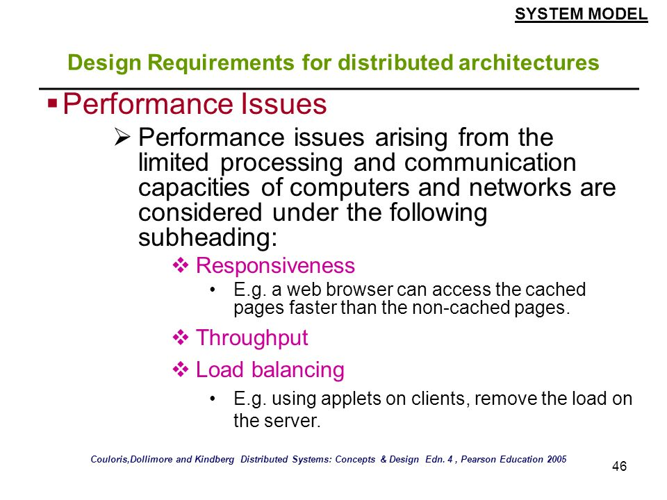 Design Requirements for distributed architectures