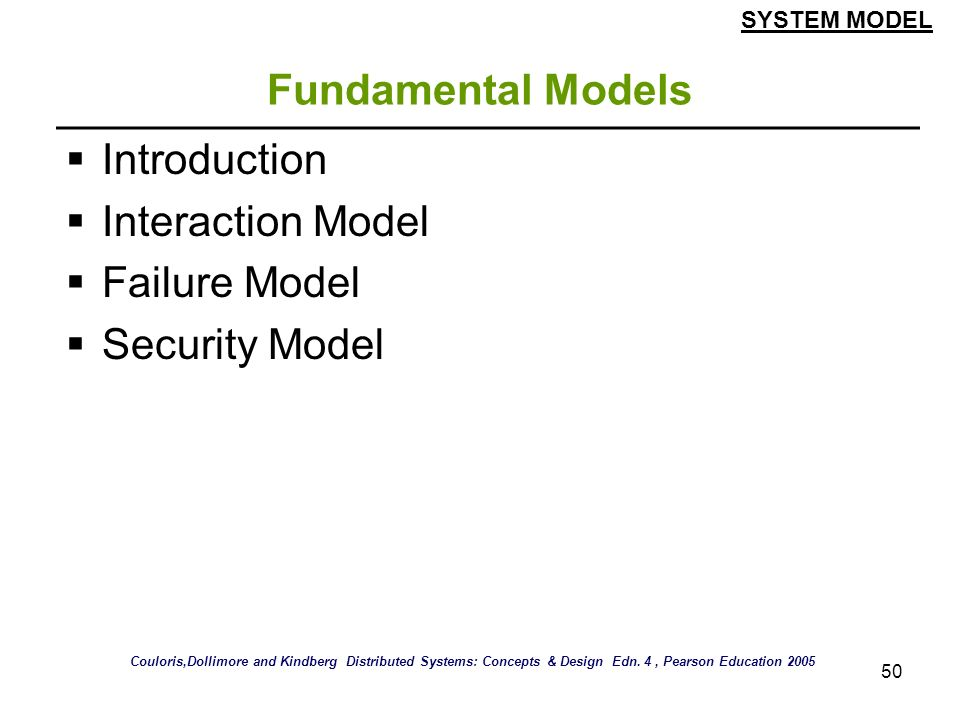 Fundamental Models Introduction Interaction Model Failure Model