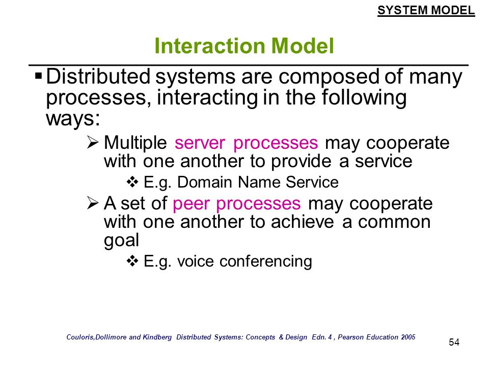 SYSTEM MODEL Interaction Model. Distributed systems are composed of many processes, interacting in the following ways: