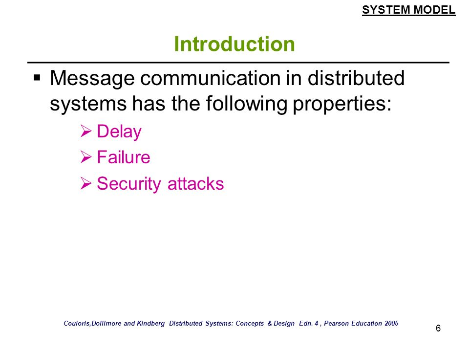 SYSTEM MODEL Introduction. Message communication in distributed systems has the following properties: