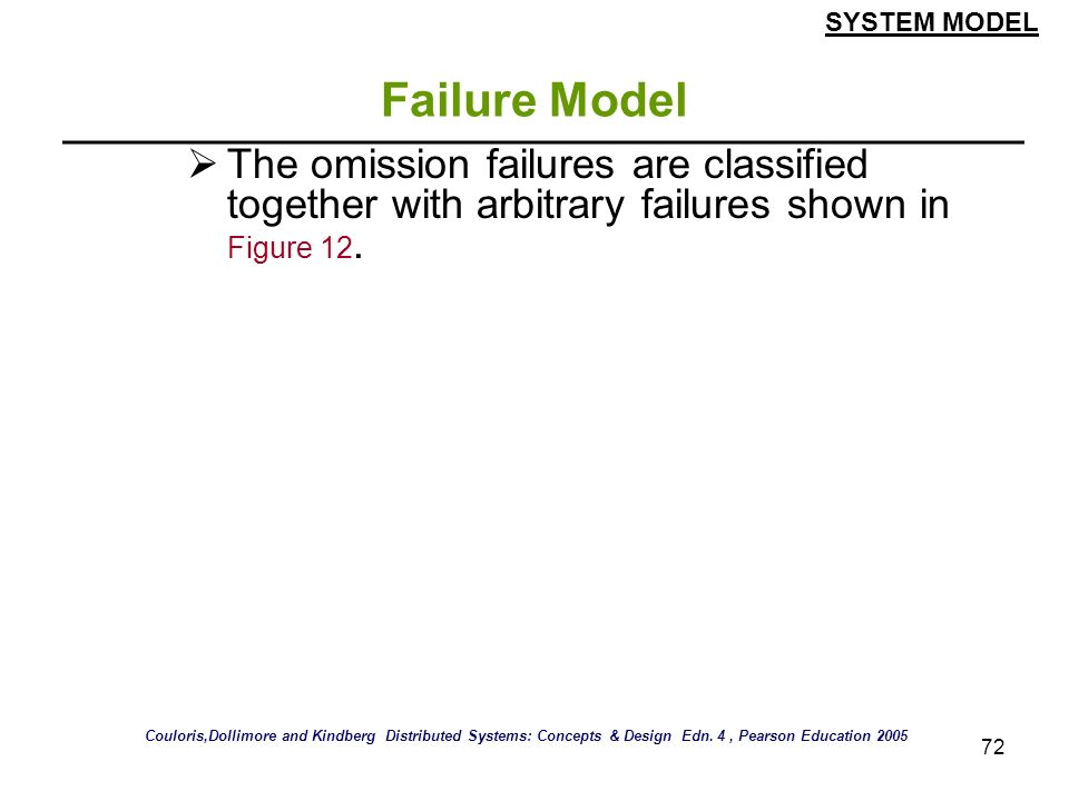 SYSTEM MODEL Failure Model. The omission failures are classified together with arbitrary failures shown in Figure 12.