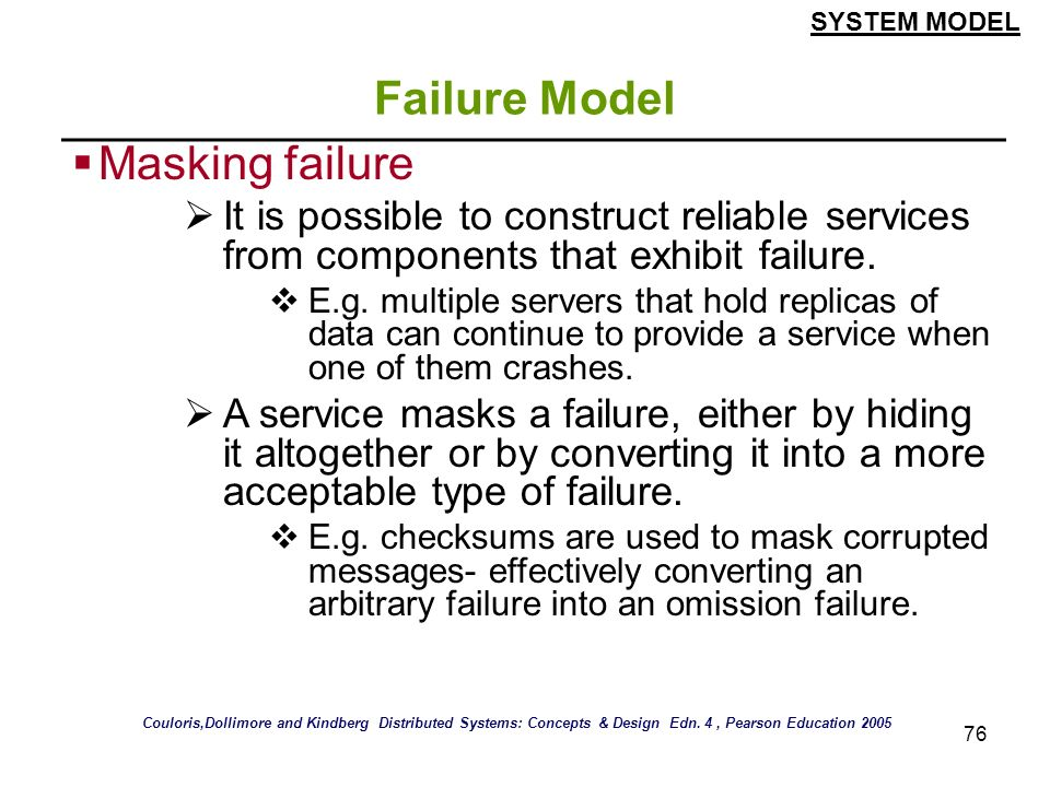 Failure Model Masking failure