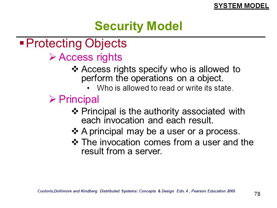 Security Model Protecting Objects Access rights Principal